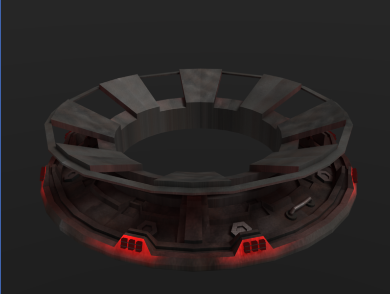 Rough-draft render of the new orbital dock model with rusty metal texture.